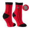 TCK Brands Warm Fuzzy Cozy Crew Sock in Scarlet and Black