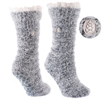 TCK Brands Snow Christie Sherpa-Lined Feather Cozy Crew Sock in Black with Ivory