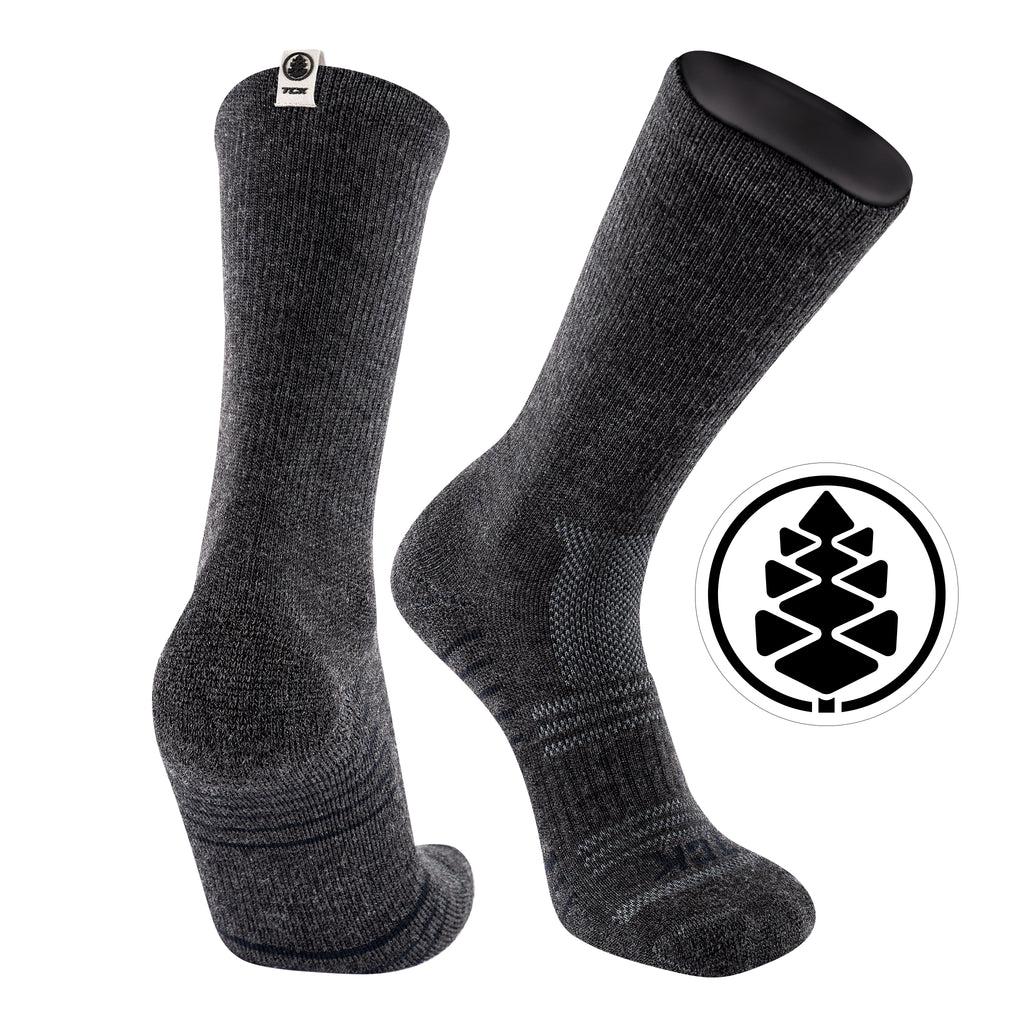 TCK Brands Day Tripper Half Cushion Pure Merino Wool Crew Sock in Charcoal Heather