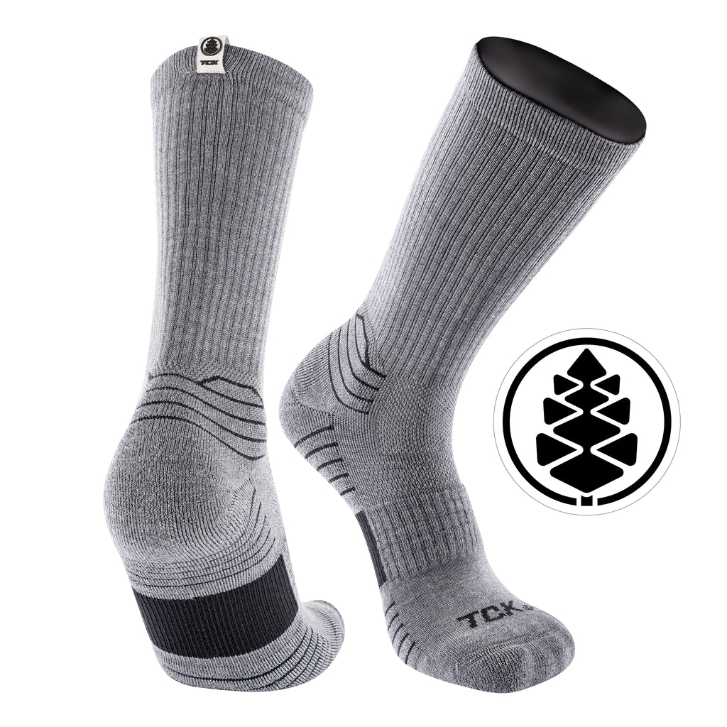 TCK Brands Day Tripper Half Cushion Pure Merino Wool Crew Sock in Grey Heather