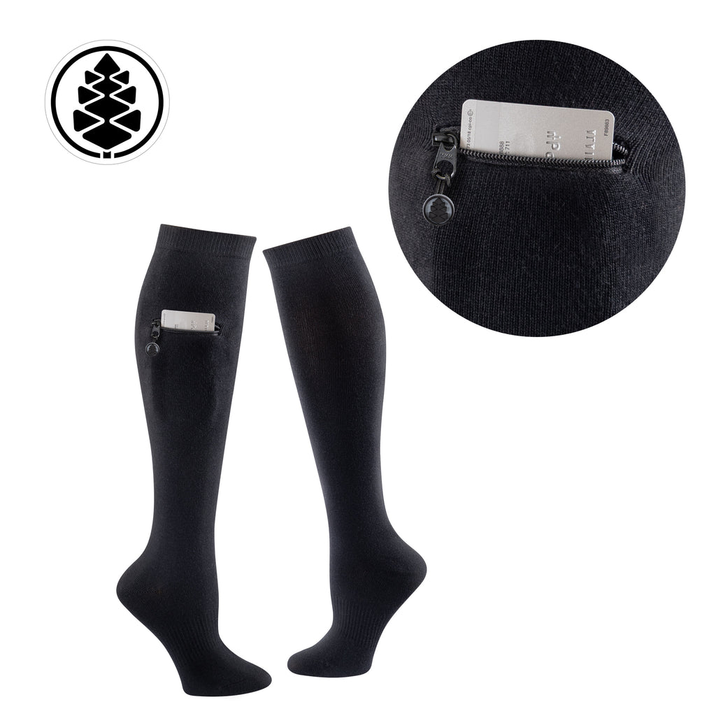 TCK Brands Miss Zippy Knee High Sock with Zip Pocket in Solid Black