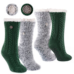 Miss Chalet and Snow Christie 2-Pack Sherpa Lined Cozy Socks in Green and Black with Ivory