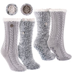 Miss Chalet and Snow Christie 2-Pack Sherpa Lined Cozy Socks in Grey and Black with Ivory