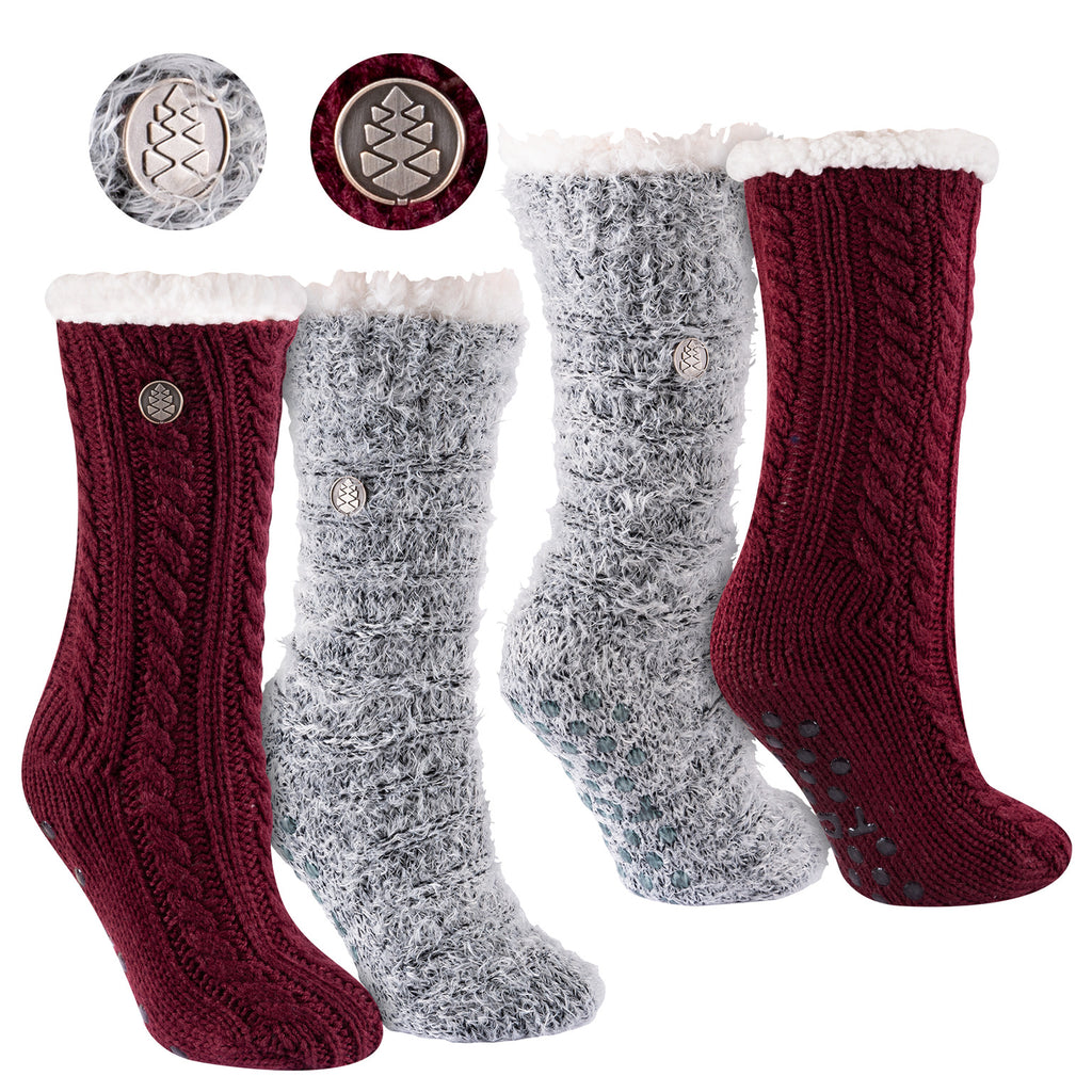 Miss Chalet and Snow Christie 2-Pack Sherpa Lined Cozy Socks in Maroon and Black with Ivory