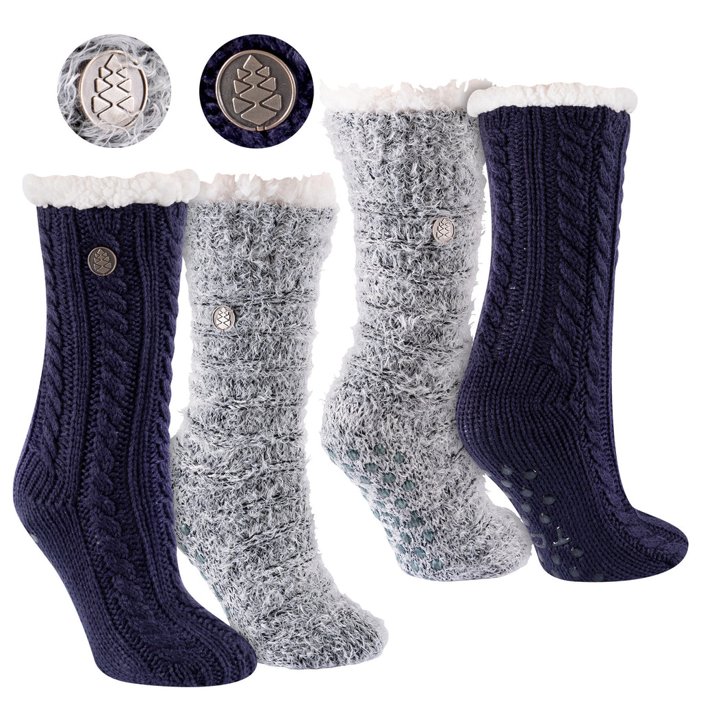Miss Chalet and Snow Christie 2-Pack Sherpa Lined Cozy Socks in Navy and Black with Ivory