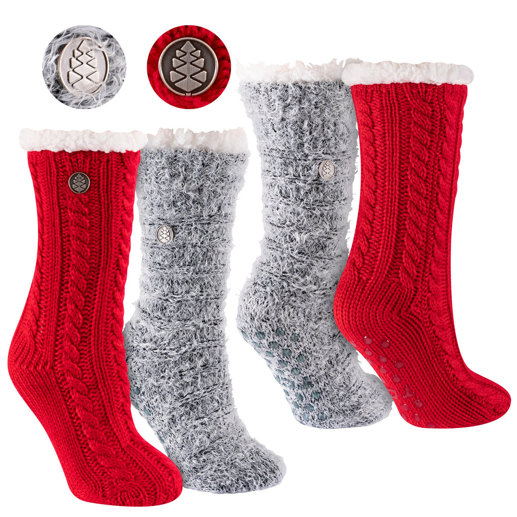 Miss Chalet and Snow Christie 2-Pack Sherpa Lined Cozy Socks in Scarlet and Black with Ivory