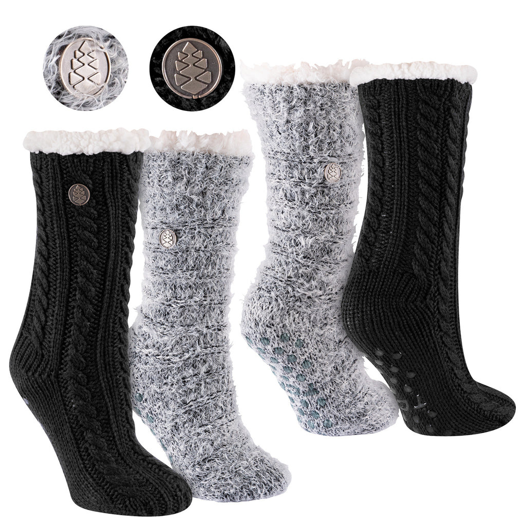 Miss Chalet and Snow Christie 2-Pack Sherpa Lined Cozy Socks in Solid Black and Black with Ivory