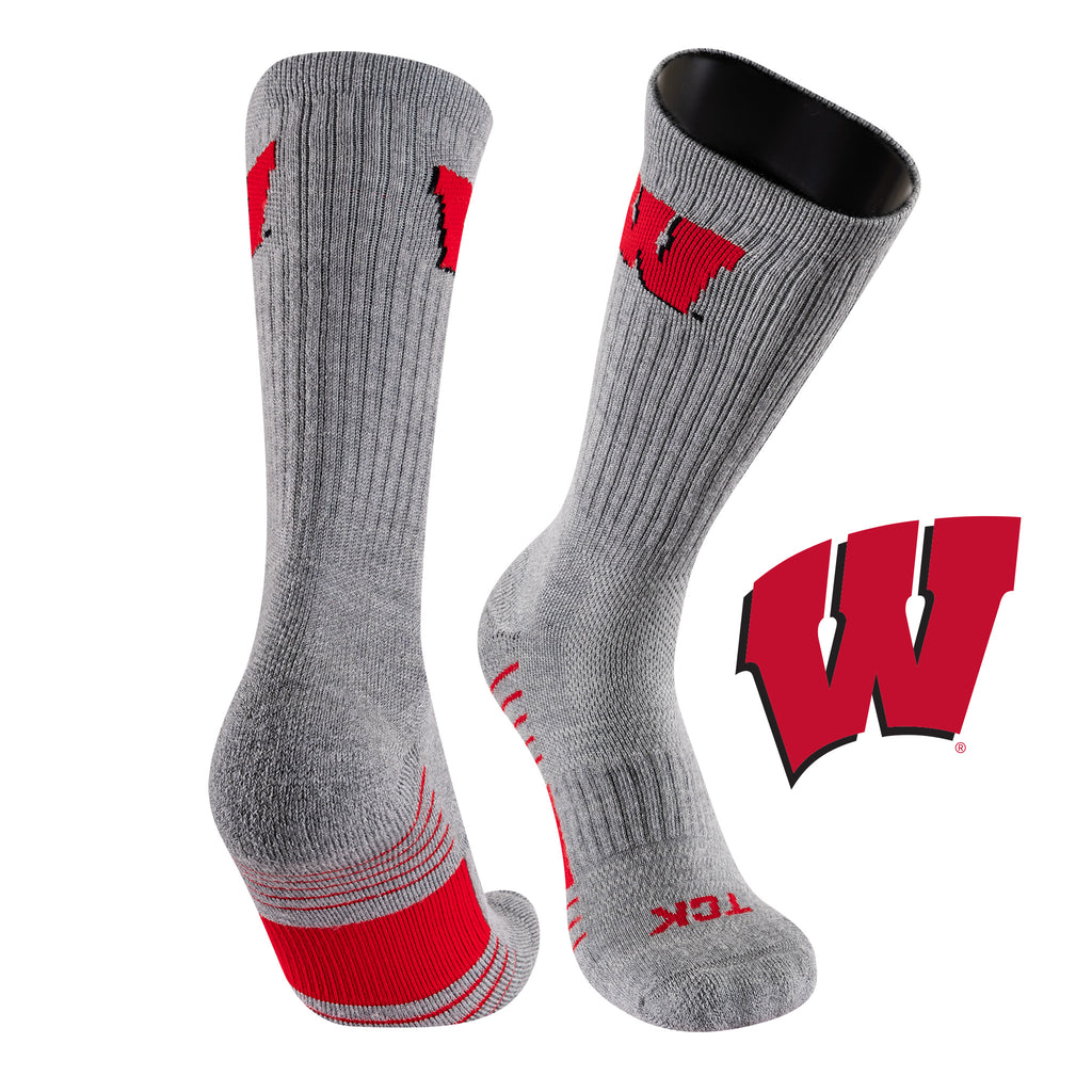 University of Wisconsin Day Tripper Half Cushion Pure Merino Wool Crew Socks