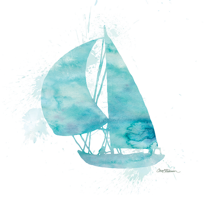 watercolor silhouette ~ sailboat