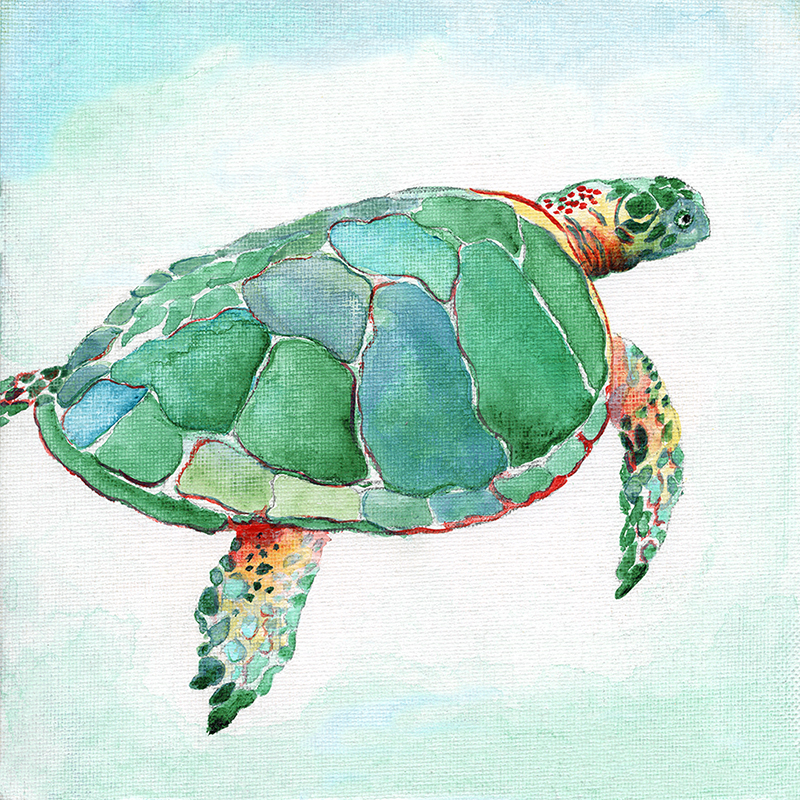 tropical watercolor ~ green turtle 01