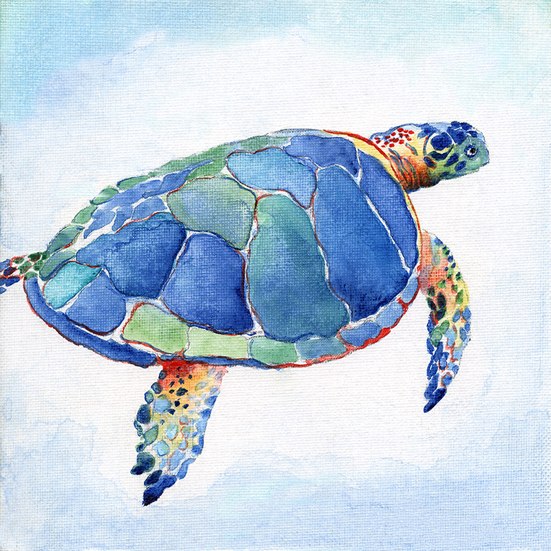 tropical watercolor ~ blue turtle 01