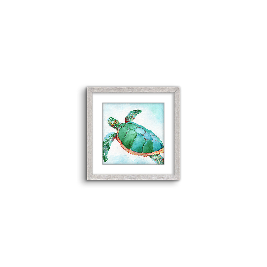 tropical watercolor ~ green turtle 02