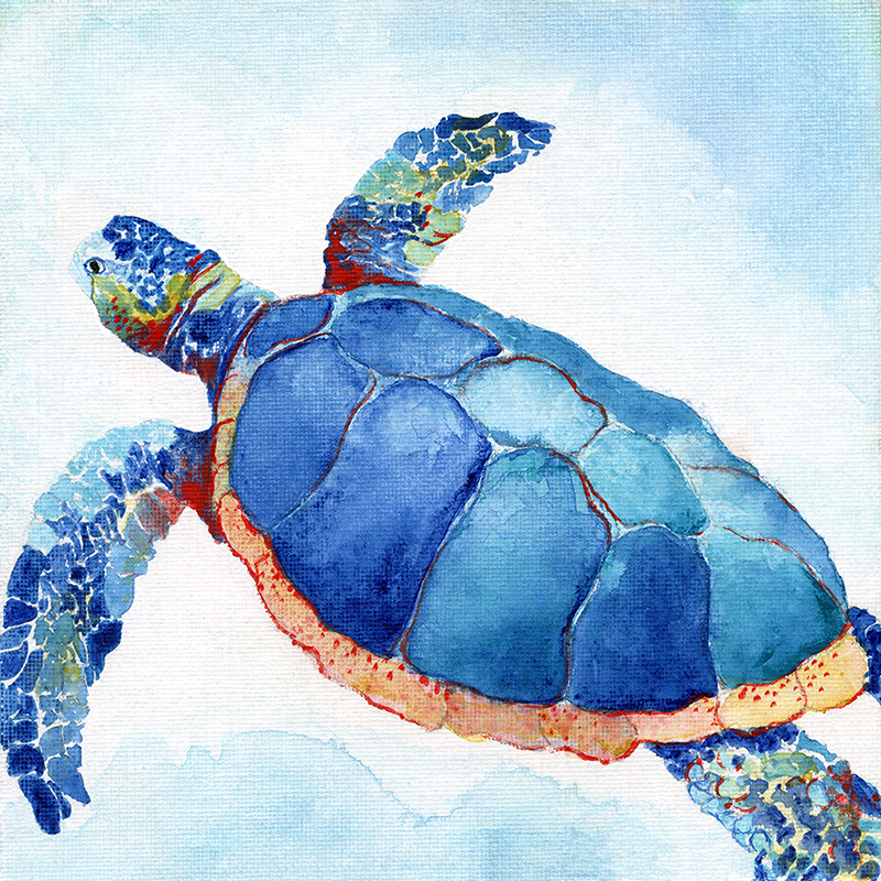 tropical watercolor ~ blue turtle 02