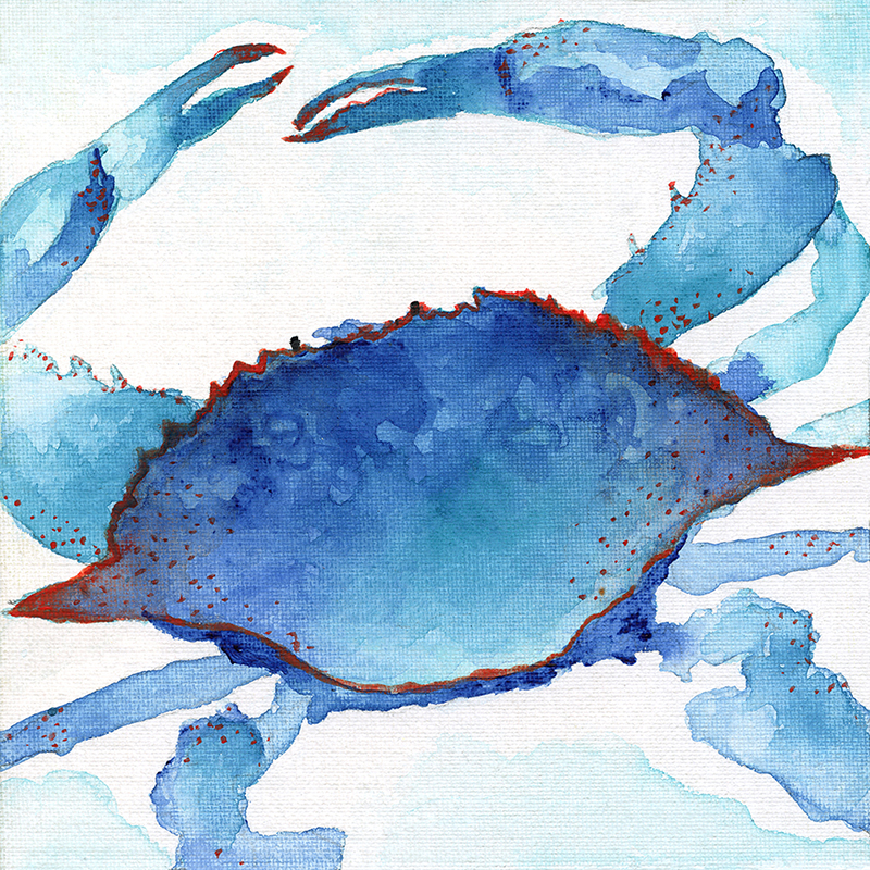 tropical watercolor ~ crab