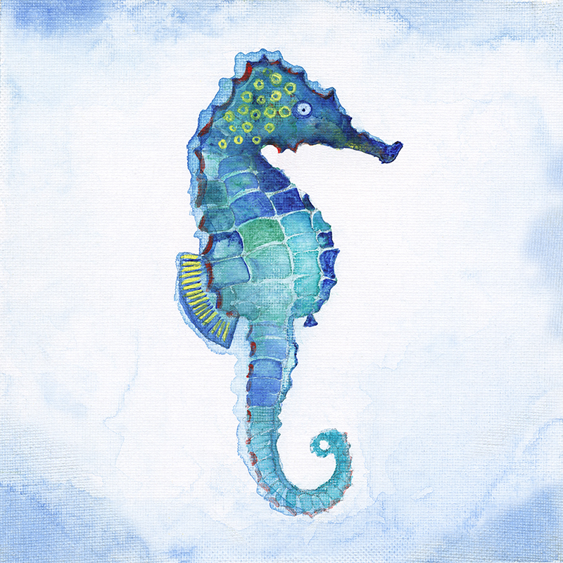 tropical watercolor ~ seahorse