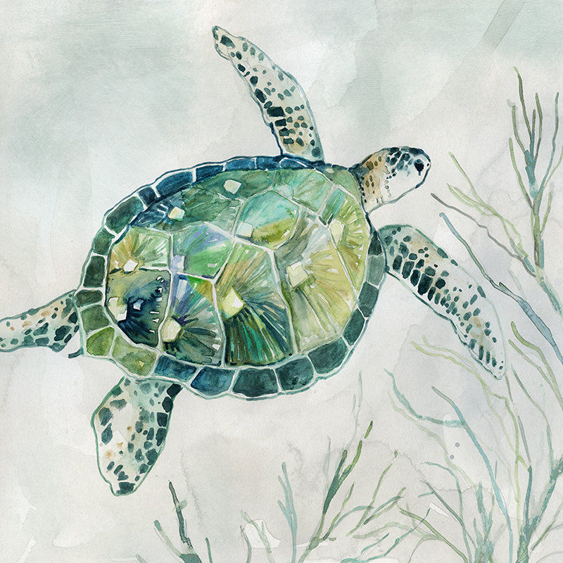 green watercolor turtle 01