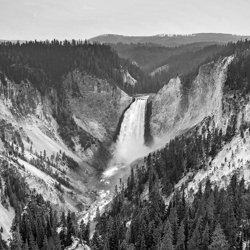 national parks ~ yellowstone falls ~ grey