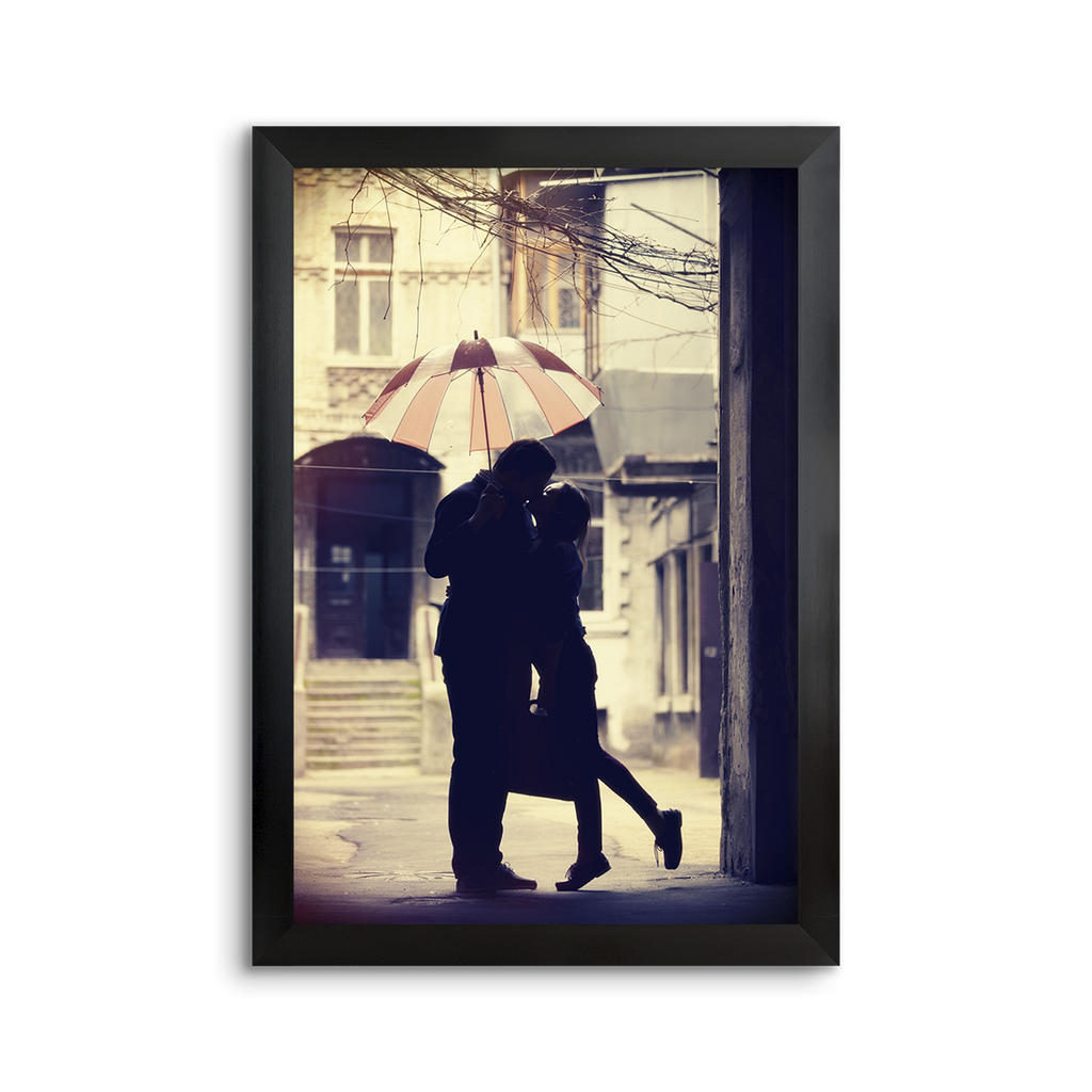 romantic umbrella kiss