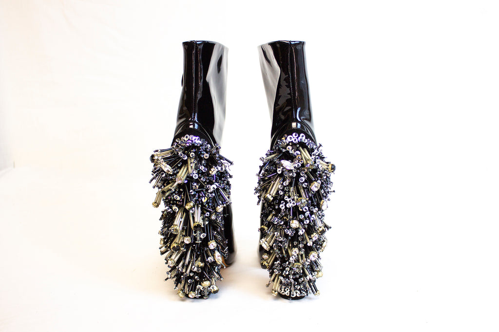 Rochas Patent Leather And Beaded Heels | Size 9