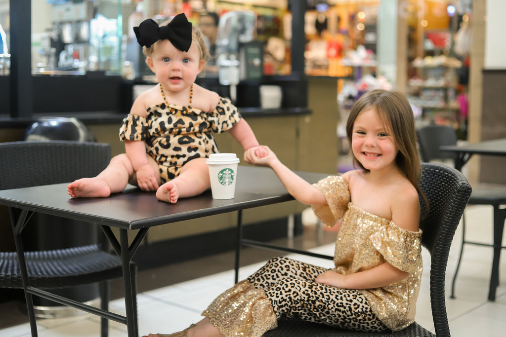 Leopard Flutter Romper - Sassy Little Sunflower