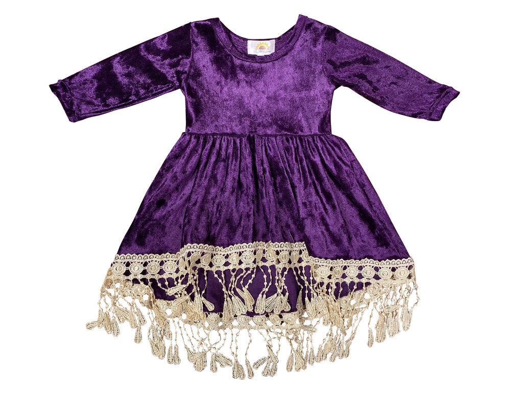 Plum Velour Tassel Dress - Sassy Little Sunflower