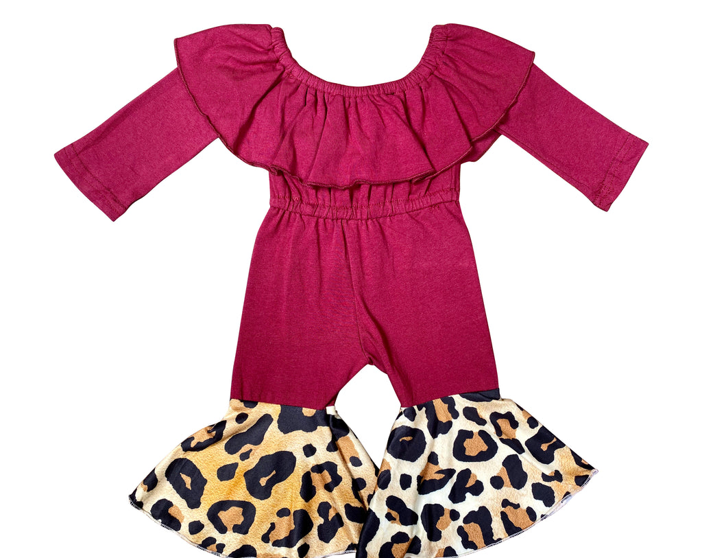Maroon and Leopard Ruffle Bell Jumpsuit - Sassy Little Sunflower