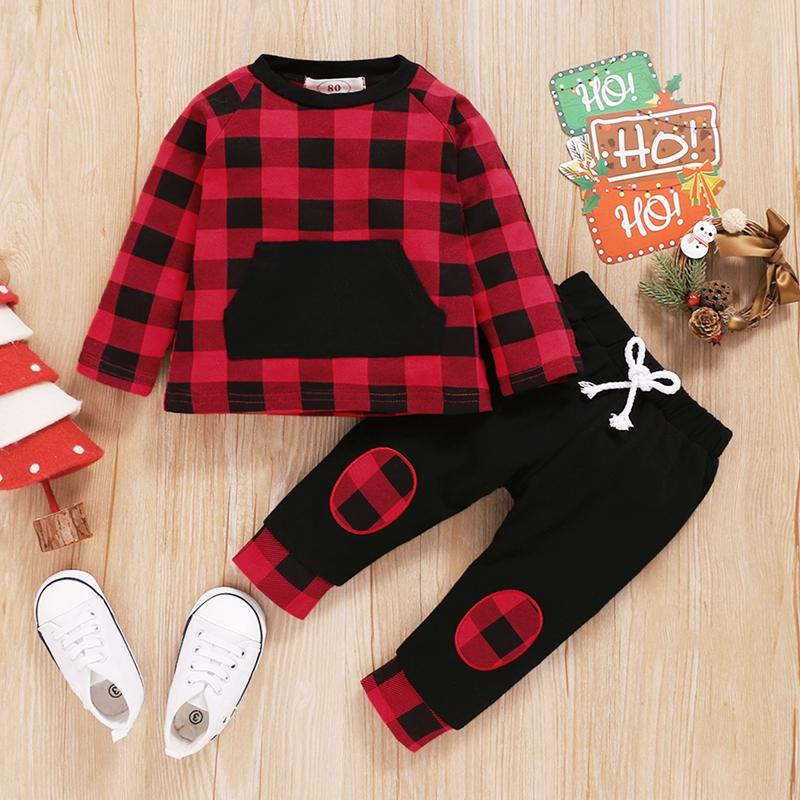 Buffalo Plaid Boy Pant Set