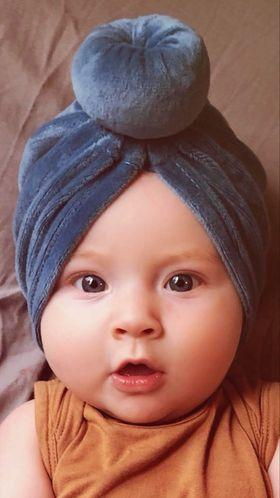 Velour Bun Turban Hat - Sassy Little Sunflower