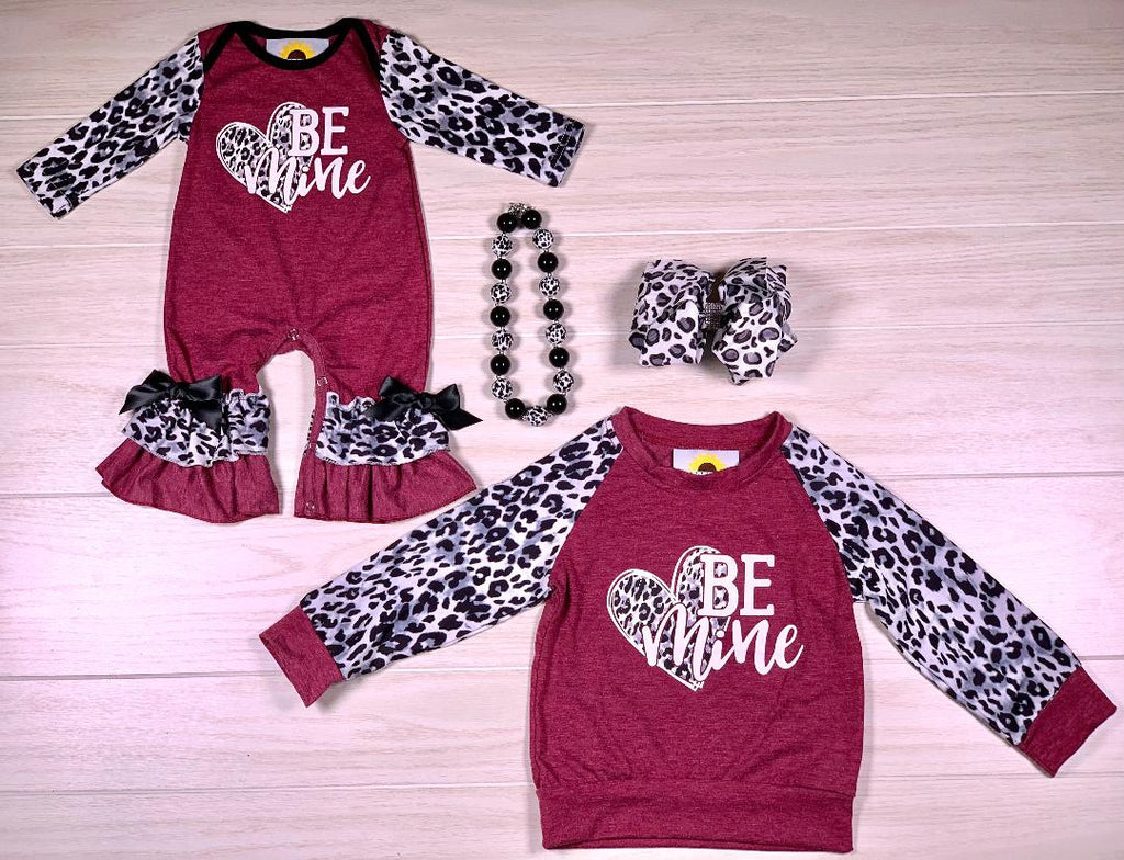 Be Mine Burgundy & Snow Leopard Romper