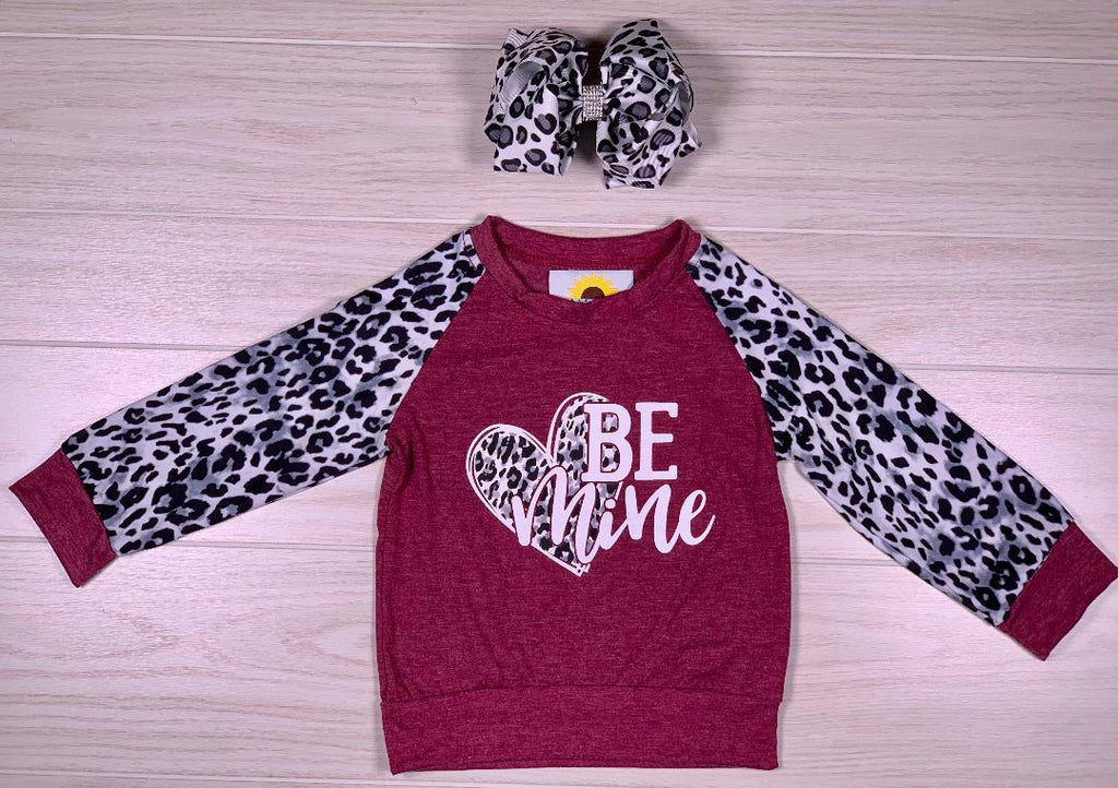 Be Mine Burgundy & Snow Leopard Shirt
