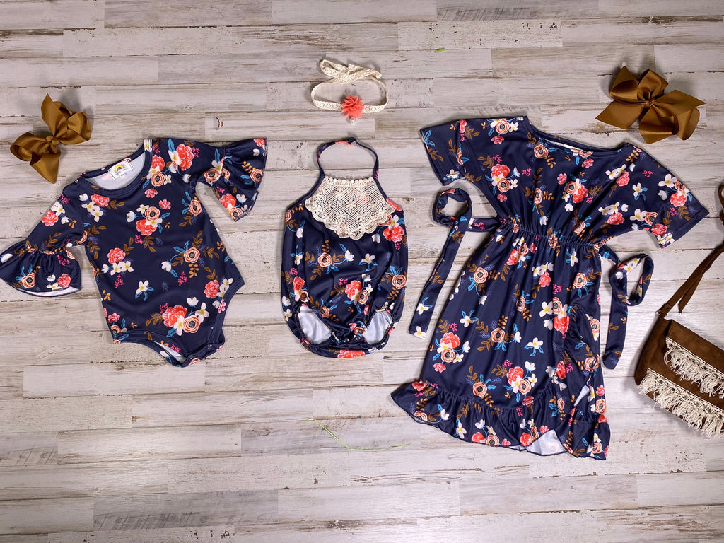 Navy Floral Bodysuit - Sassy Little Sunflower