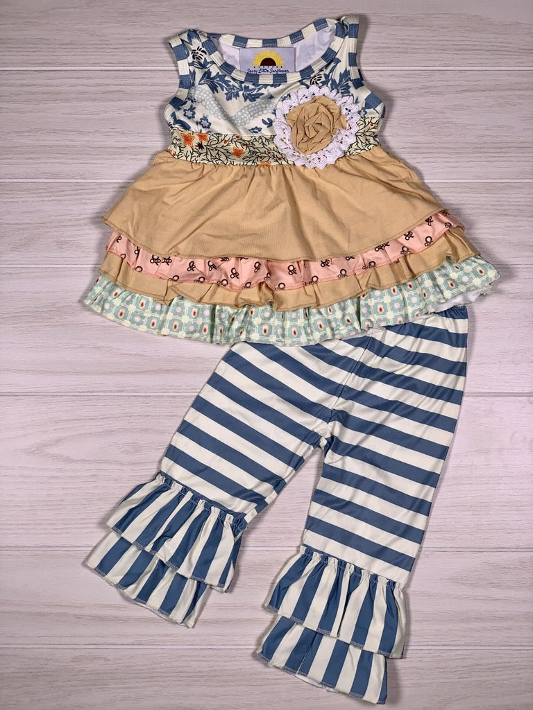 Vintage Blue Stripe Boutique Pant Set
