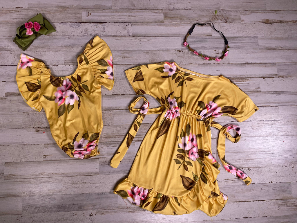 Mustard Floral Flutter Sleeve Romper - Sassy Little Sunflower