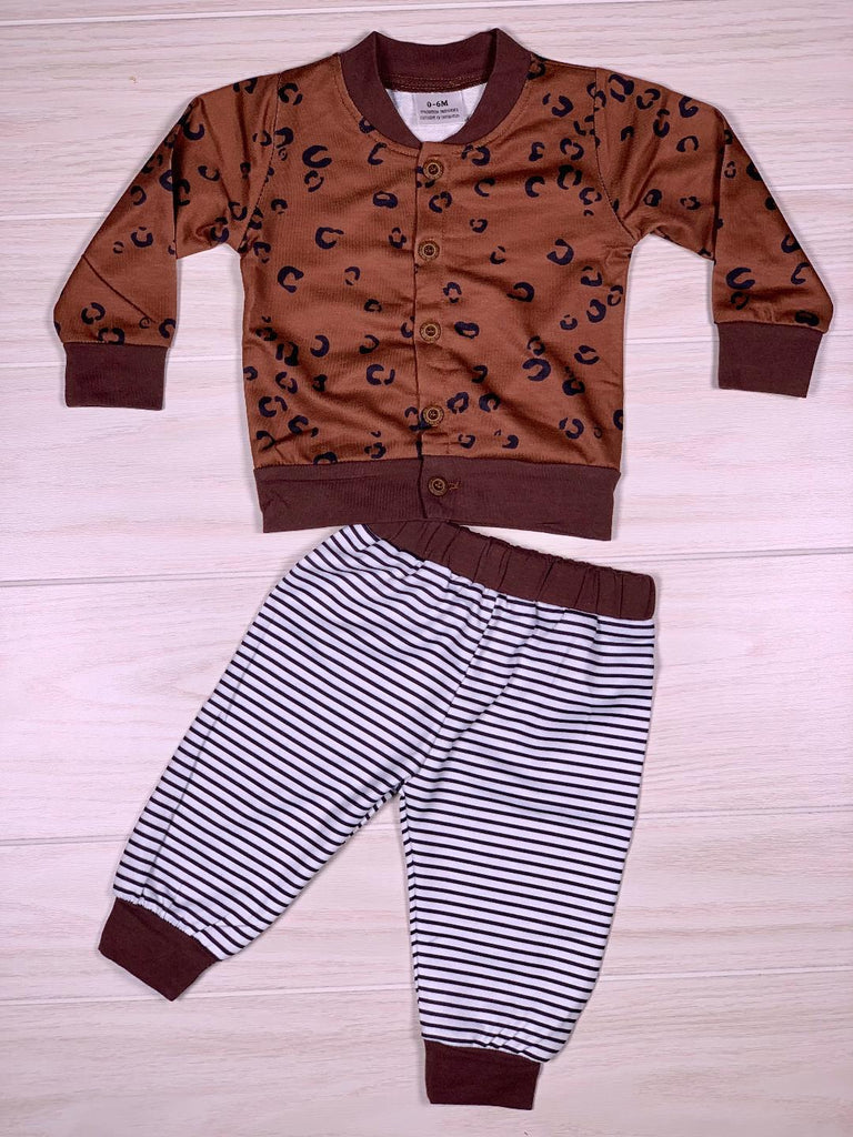Boys Cheetah Stripe Pant Set