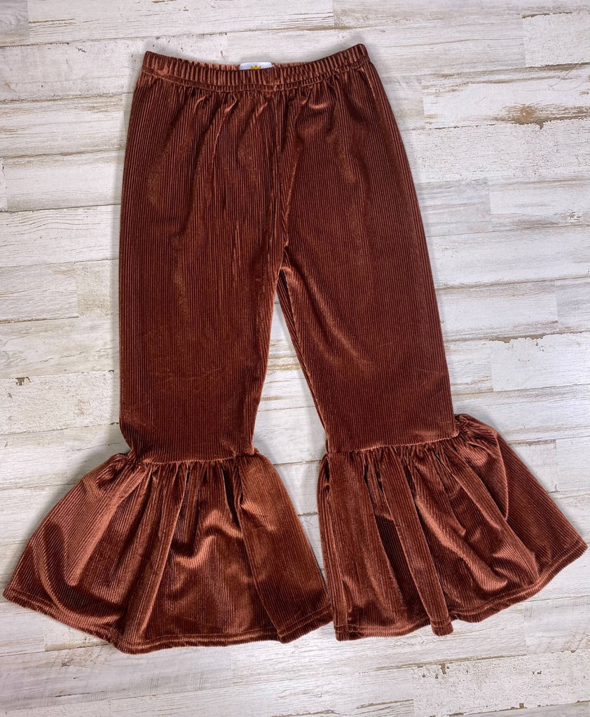Brown Corduroy Retro Bell Bottoms - Sassy Little Sunflower