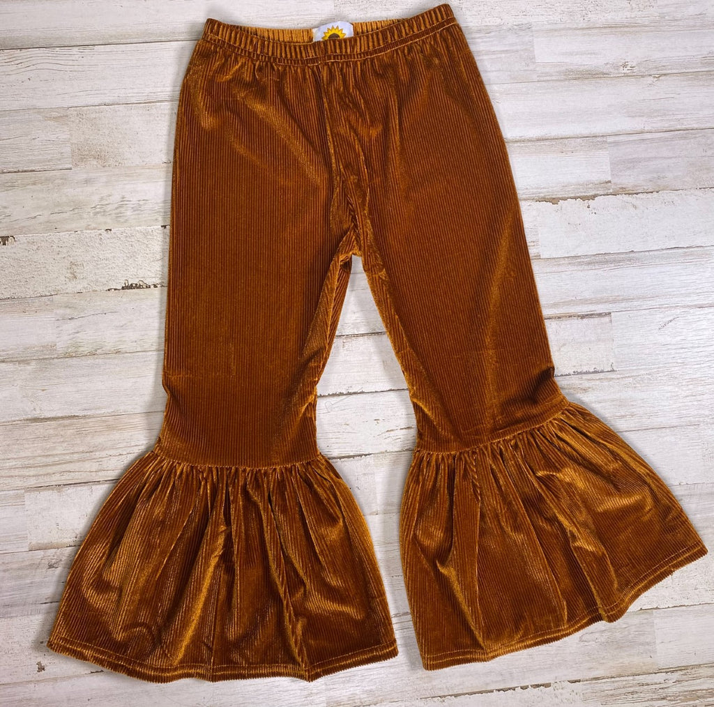 Camel Corduroy Retro Bell Bottoms - Sassy Little Sunflower