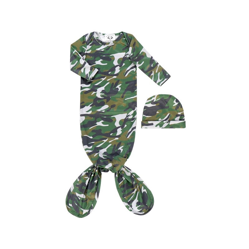 Boys Camo Gown and hat set - Sassy Little Sunflower