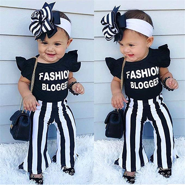 Black and White Fashion Blogger Pants Set - Sassy Little Sunflower