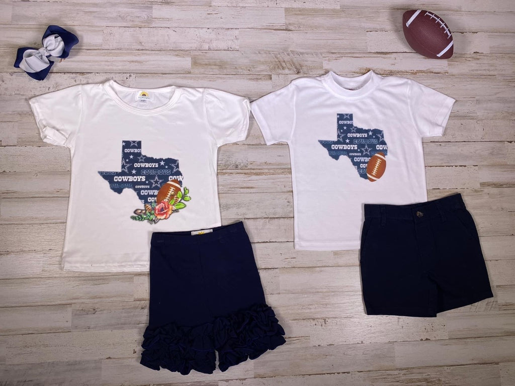 Girls Dallas Cowboys Texas  Graphic T-shirt - Sassy Little Sunflower
