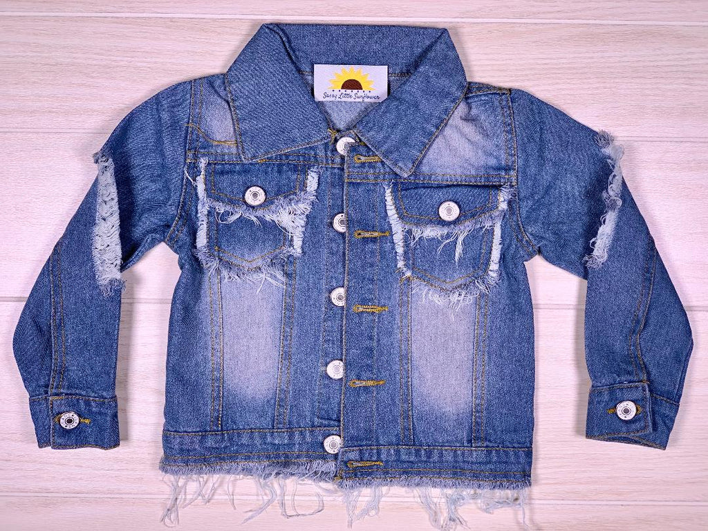 Distressed Denim Blue Jean Jacket