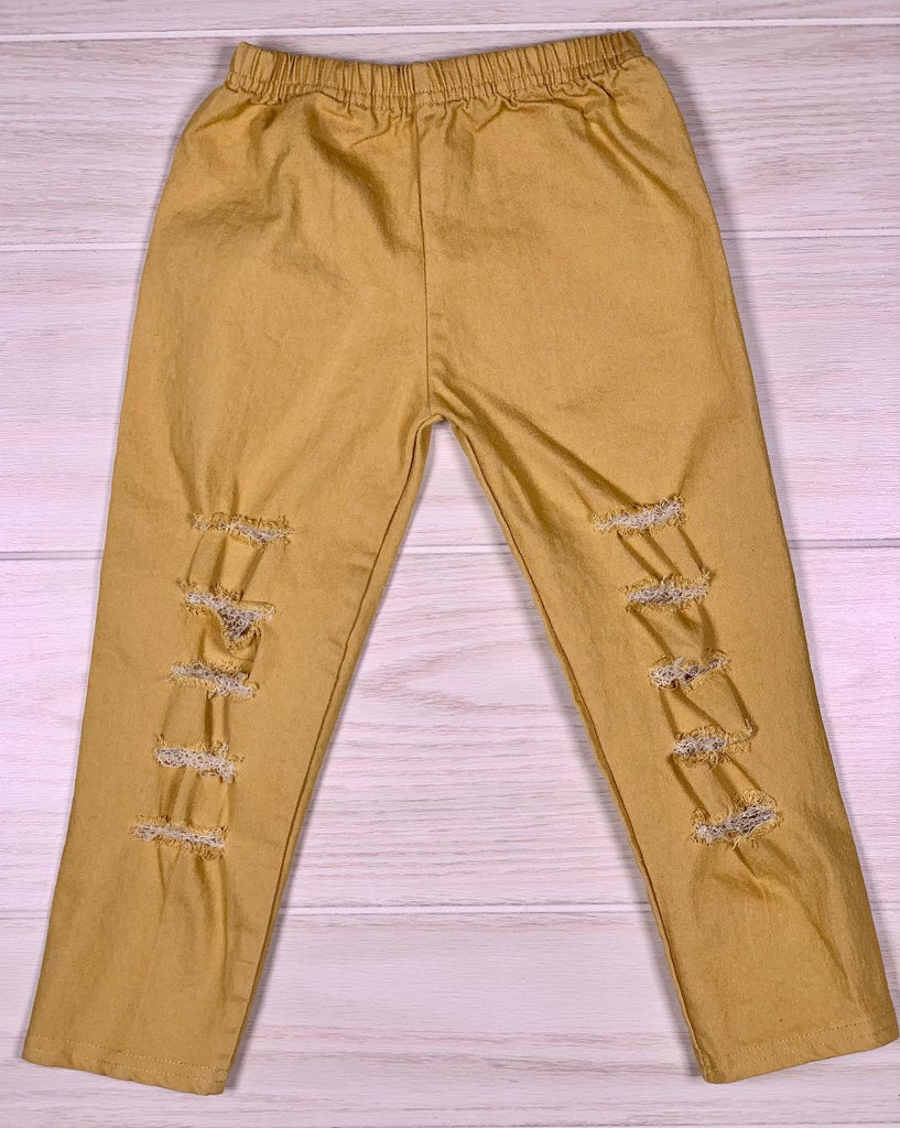 Distressed Golden Leggings