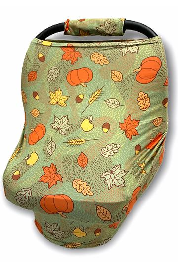 Fall Leaves  and Pumpkins Car Seat Cover