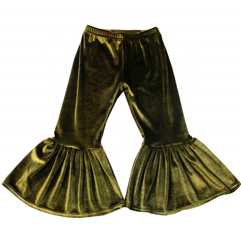Avocado Green Velvet Bell Bottoms - Sassy Little Sunflower