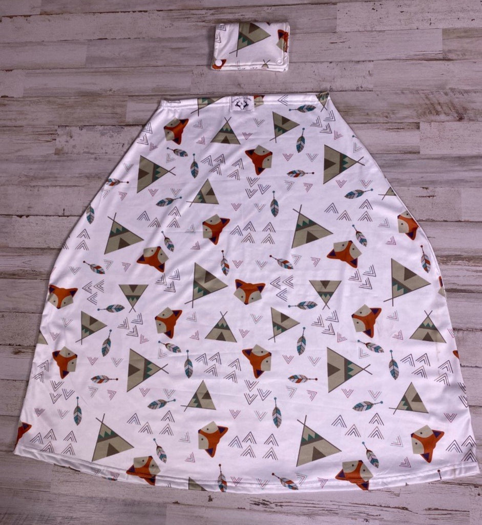 Boys Fox & Teepee Car Seat Cover - Sassy Little Sunflower