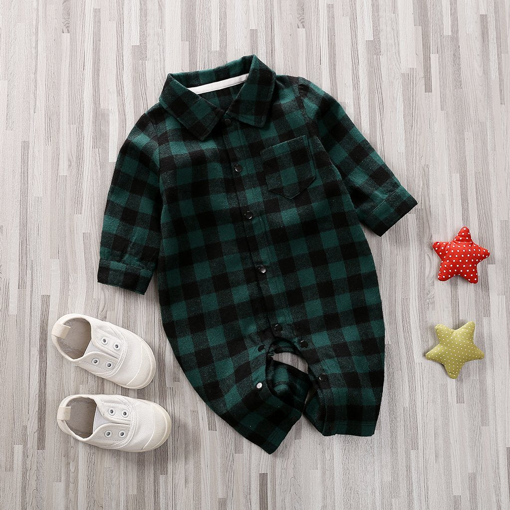 Boys Green Checkered Romper