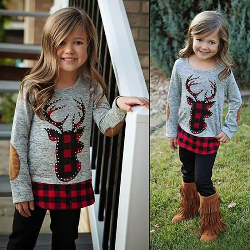 Reindeer Buffalo Plaid Pant Set