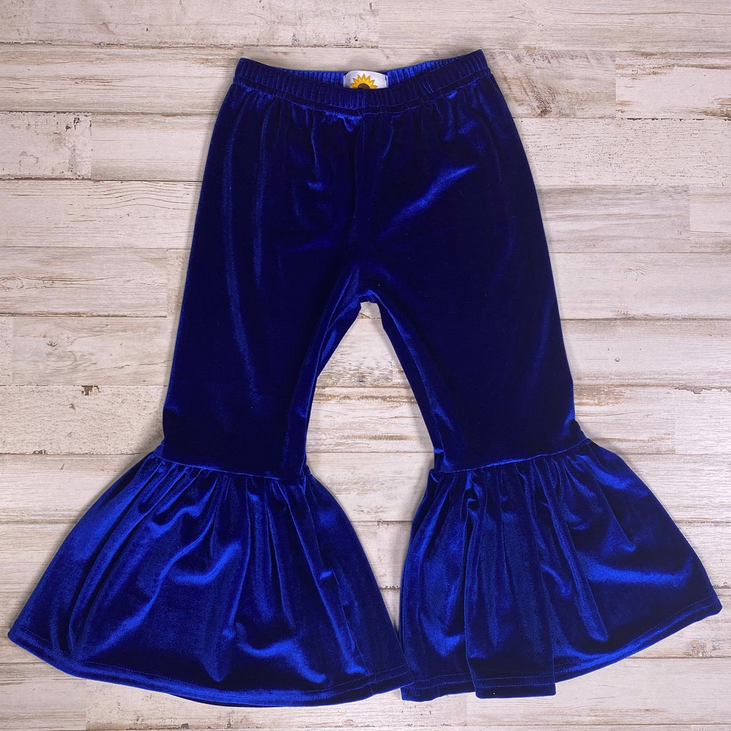 Royal Blue Velour Bell Bottoms