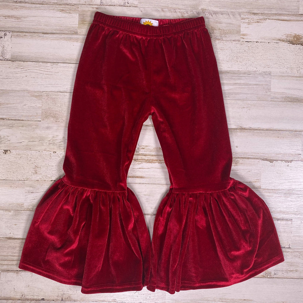 Burgundy Velour Bell Bottoms