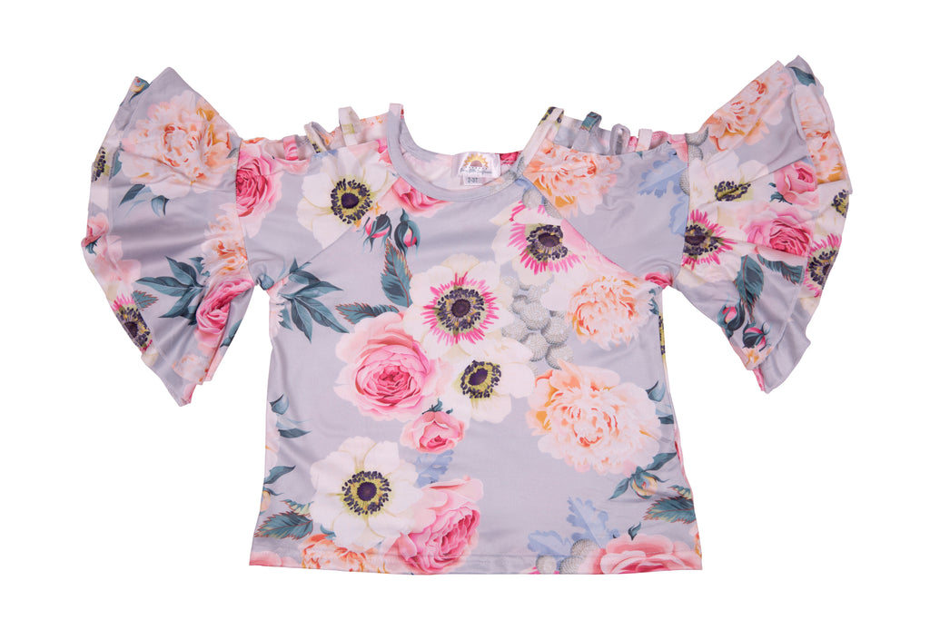 Pastel Blue Rose Ladder Shirt - Sassy Little Sunflower