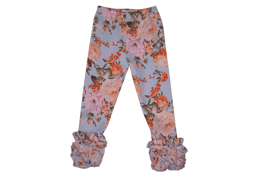 Dusty Blue Floral Ruffle Pants - Sassy Little Sunflower